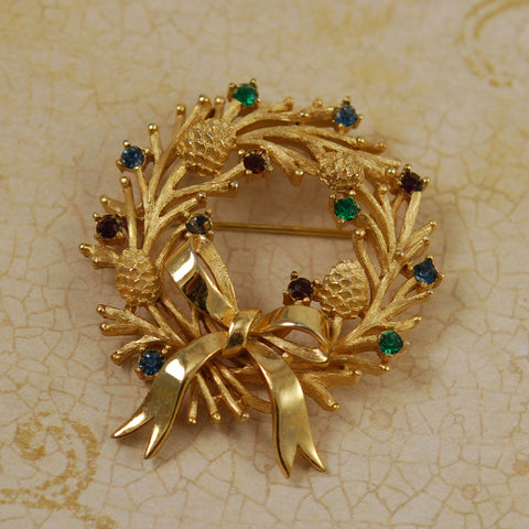 Trifari Gold Tone Wreath Brooch Vintage