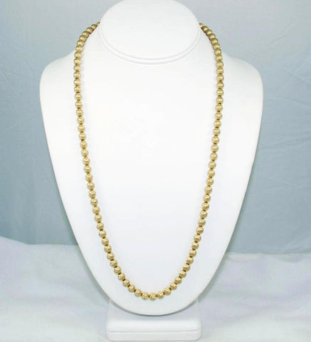 Trifari Gold Bead Necklace Vintage 6mm