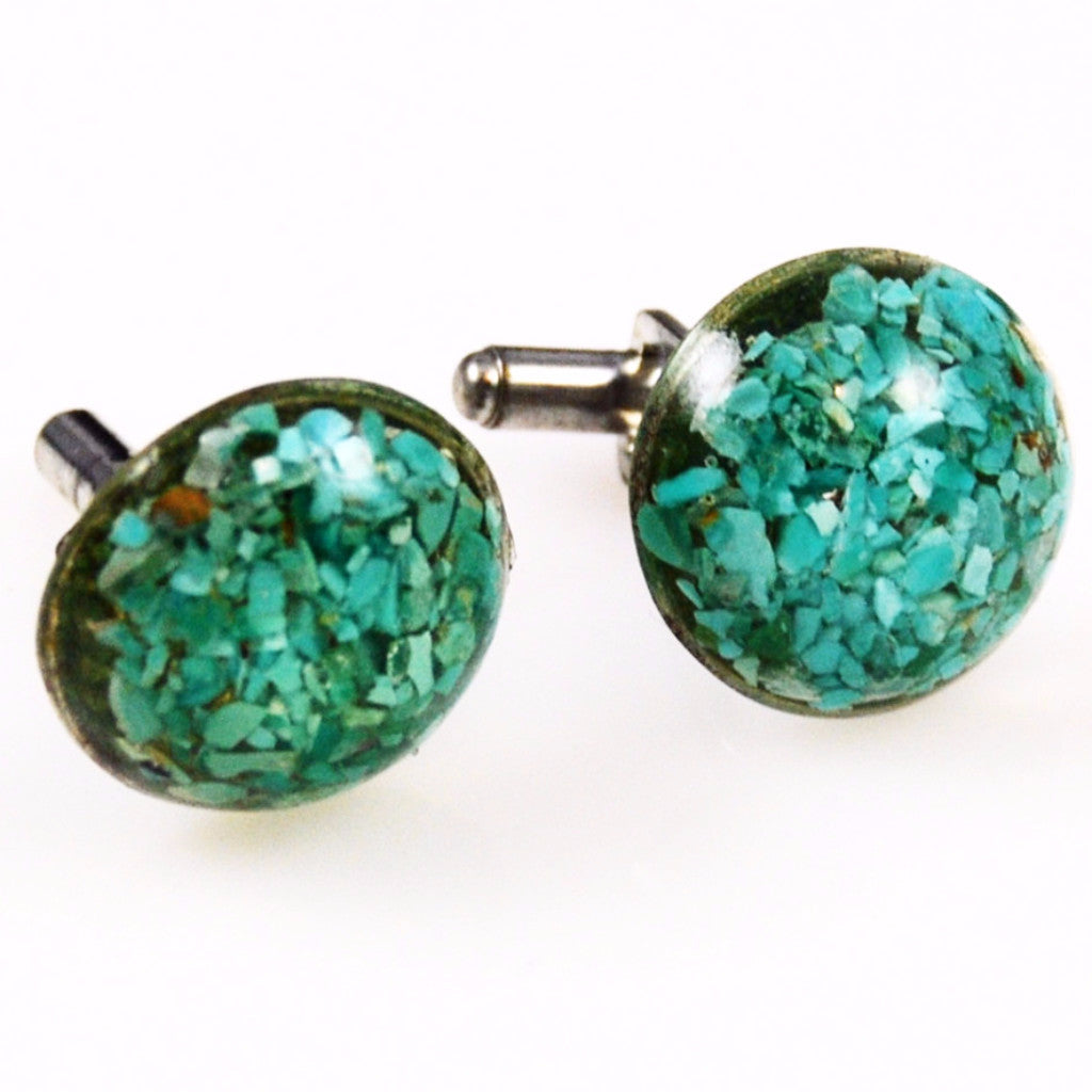Lucite Turquoise Blue Cuff Links 1960's