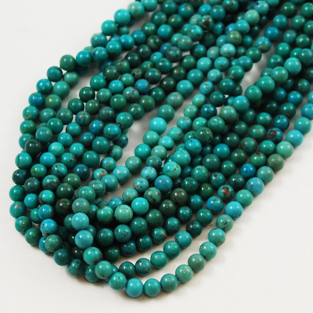 Natural Turquoise Round Beads 4mm American