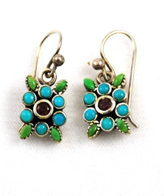 Vintage Sterling Silver Turquoise Floral Earrings