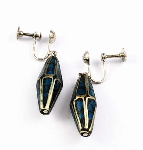 Vintage Silver & Turquoise Mosaic Screw Back Earrings