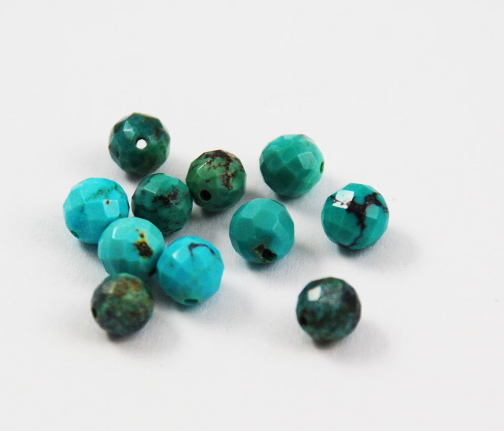 Faceted Turquoise 5mm Round Beads - Natural