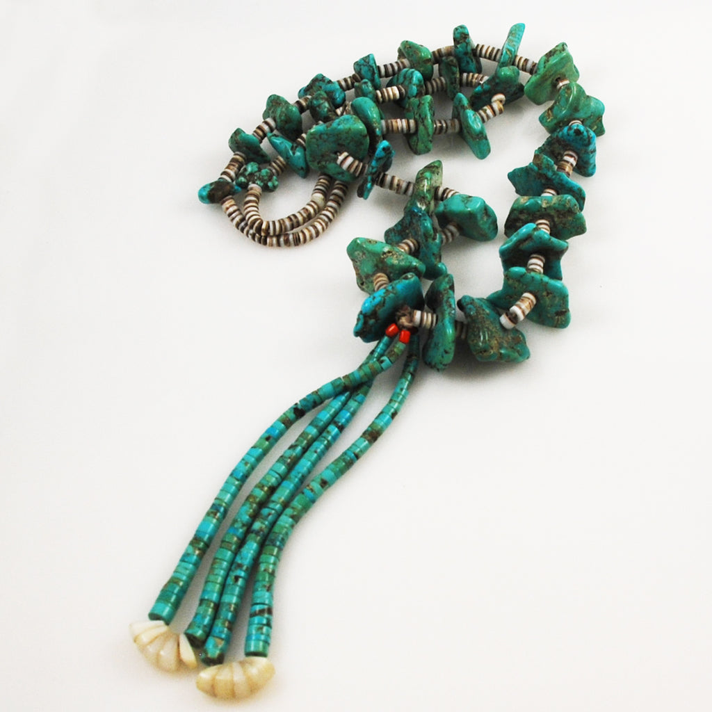 Turquoise Heishi and Jacla Necklace Vintage
