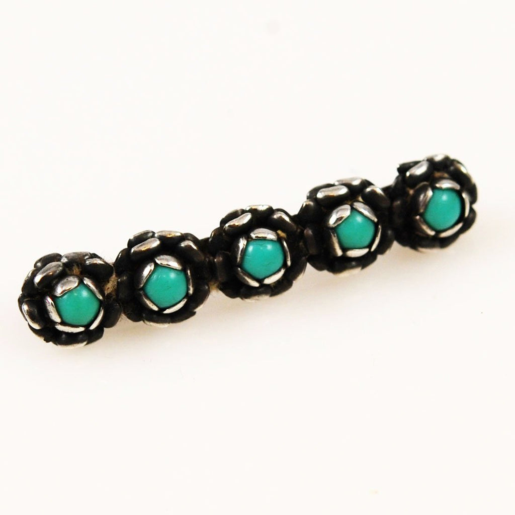 Antique Sterling Turquoise Bar Pin