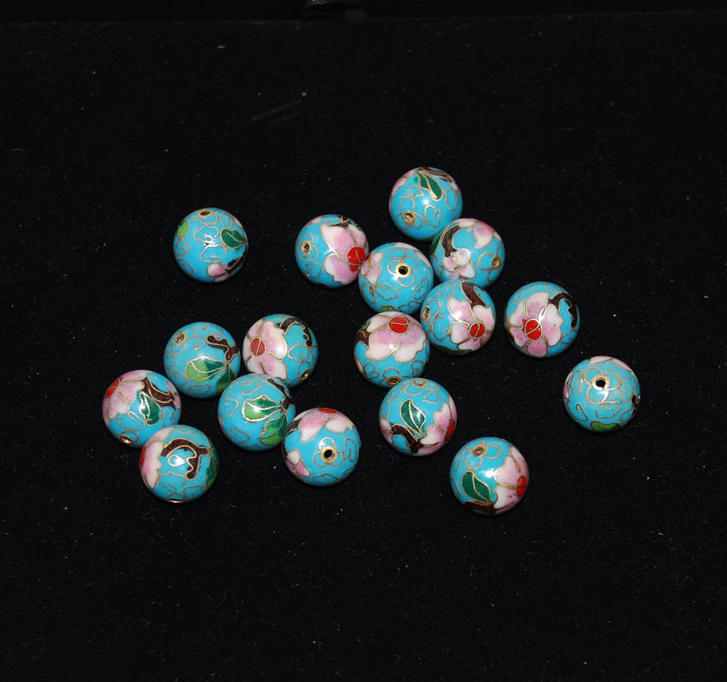 Cloisonne Turquoise Blue Round Beads Vintage Chinese 16mm