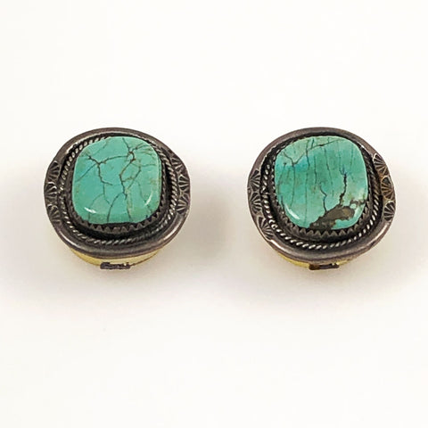Turquoise & Sterling Button Covers Navajo