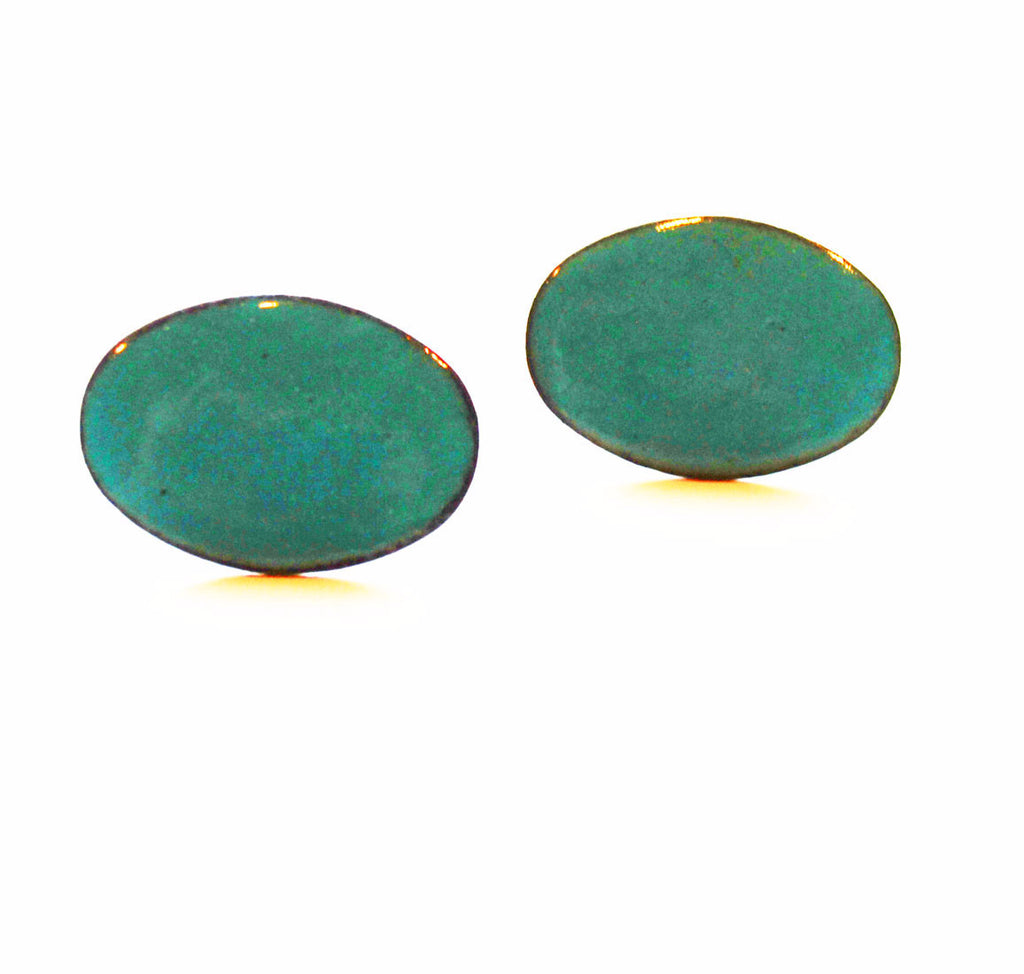 Turquoise Enamel Copper Cuff Links 1960's