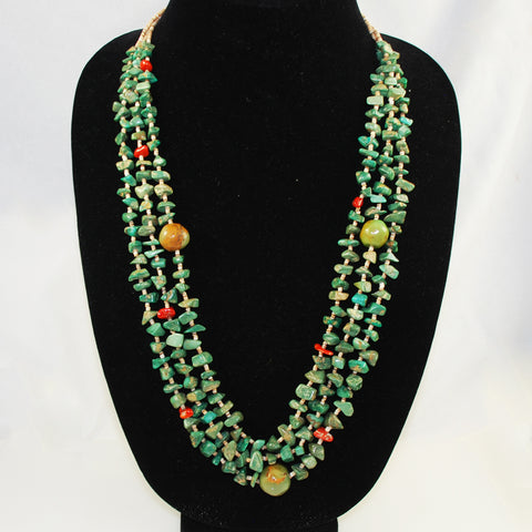 Turquoise Santa Domingo Nugget & Heishe Necklace