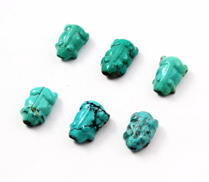 Carved Turquoise Fetish Figurine Pig Beads