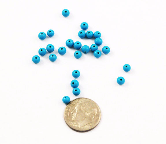 Turquoise Blue Glass Round Beads