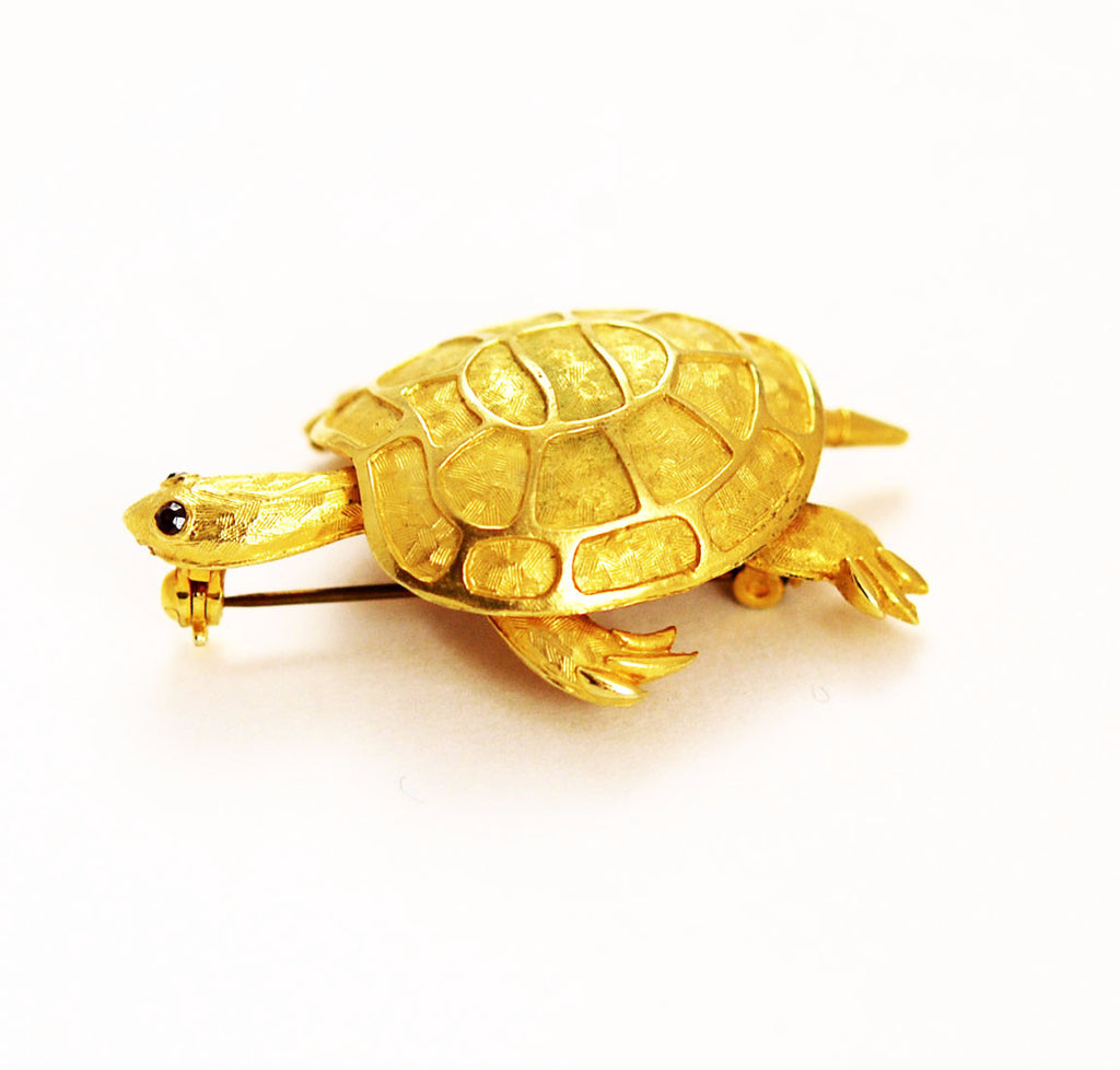 Gold Plated Turtle Brooch Vintage