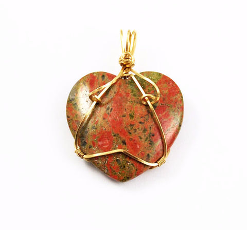 Large Unakite Wire Wrapped Heart Pendant