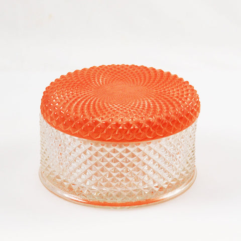 Art Deco Glass Powder or Vanity Box With Coral Lid