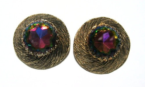 Antiqued Gold Crystal Clip On Earrings 1960's
