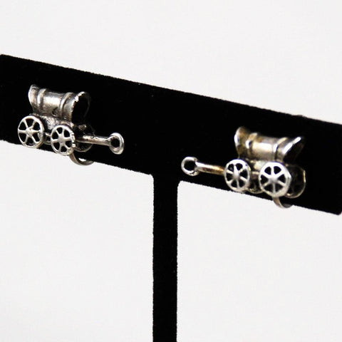 Sterling Covered Wagon Screw On Earrings Vintage