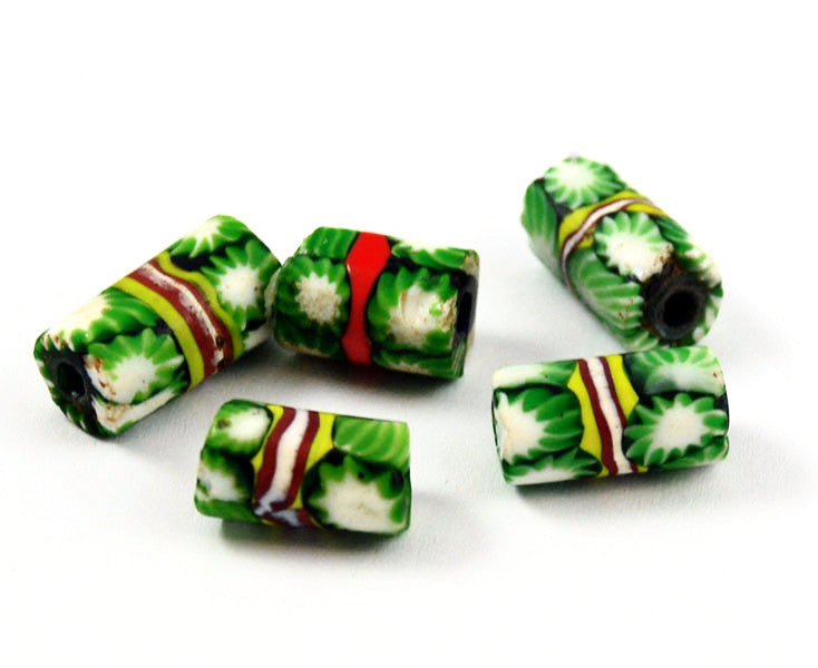 Millefiori Italian Trade Bead Tubes - Christmas Green