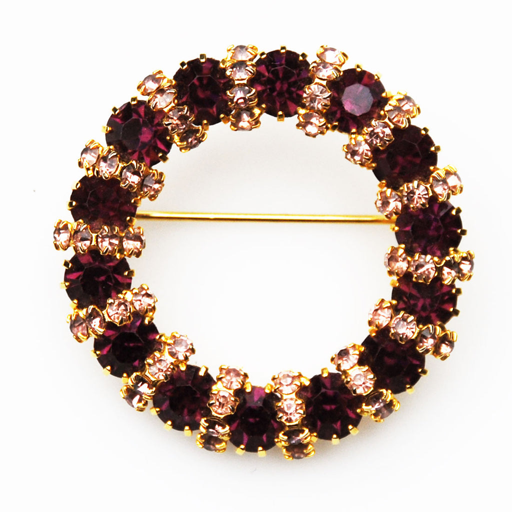 Weiss Amethyst Rhinestone Wreath Brooch