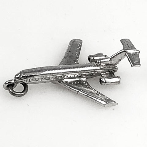 Sterling Jet Airplane Charm Pendant by Wells Vintage