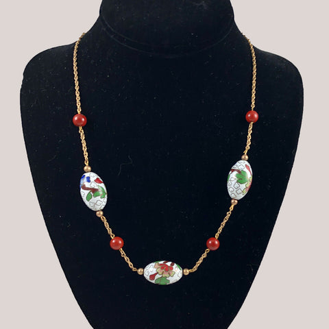 Gold & White Cloisonne Necklace Vintage