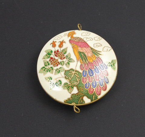 White Cloisonne Peacock Pendant Vintage Chinese