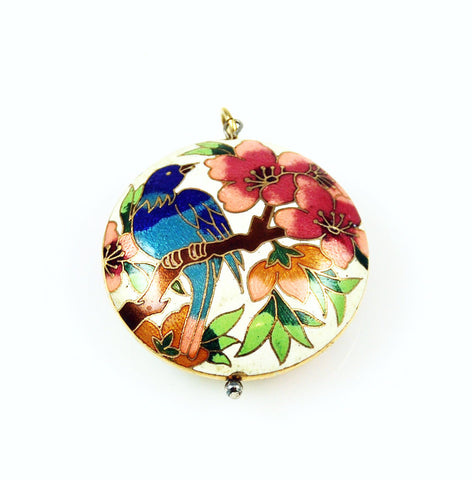 White Cloisonne Pendant Vintage Chinese Blue Bird