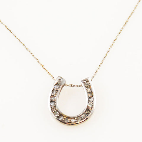 Diamond Horseshoe 14K White Gold Necklace