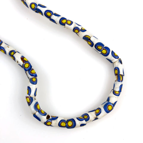African Trade Bead White & Blue Millefiori Necklace