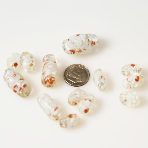 White & Copper Venetian Aventurine Twist Beads