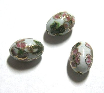 Cloisonne White Oval Beads Vintage Chinese (6)