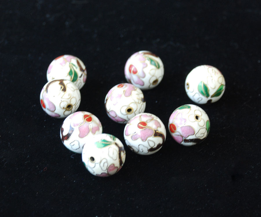 Cloisonne White Round Beads 18mm