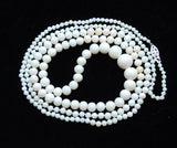 Victorian White Coral Rounds Necklace Rope Length in a circle