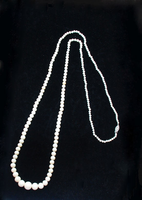 Victorian White Coral Rounds Necklace Rope Length