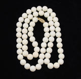 White Coral Rounds Necklace 10mm Opera 14Kt Gold Clasp Vintage