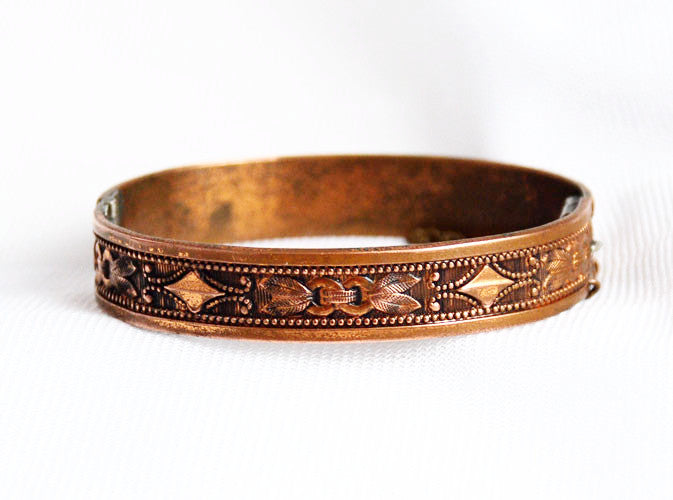 Whiting & Davis Hinged Copper Bangle Bracelet Vintage