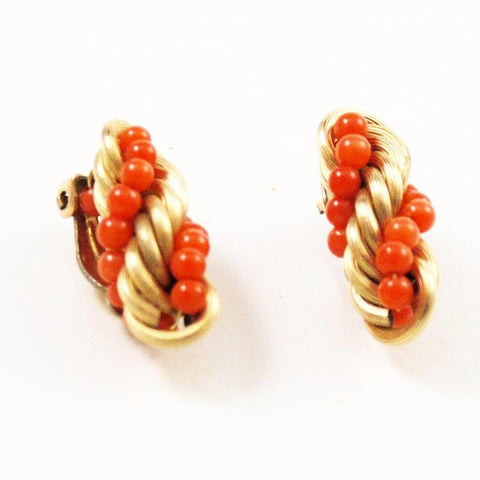 Windard Coral Gold Filled Earrings Signed Vintage