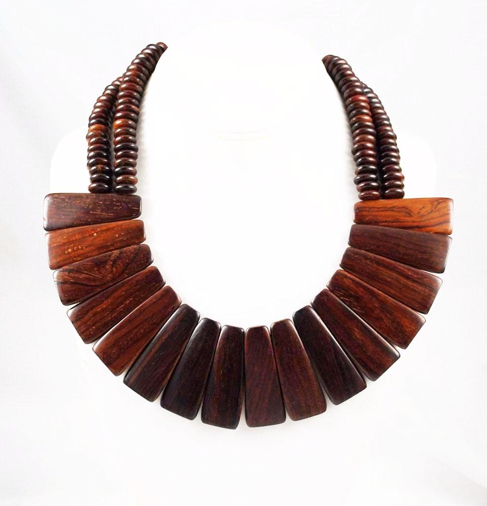 Vintage Wood Collar Necklace
