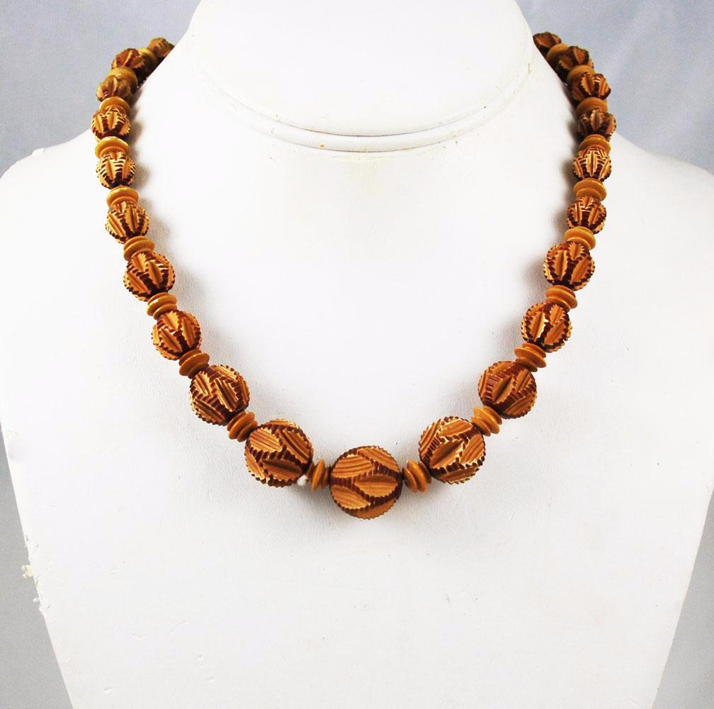 Carved Celluloid Faux Wood Bead Necklace