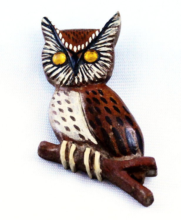 Handcrafted Wooden Owl Brooch Vintage