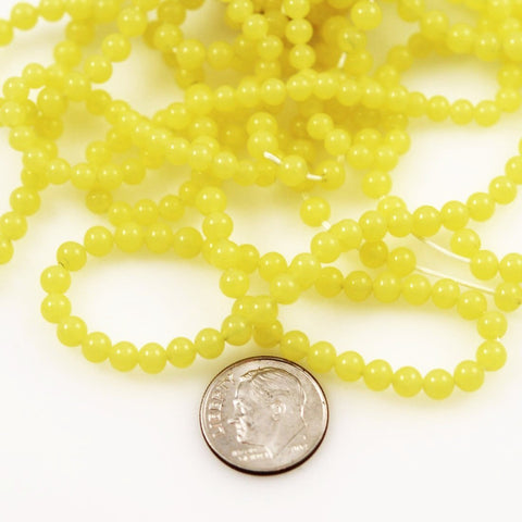 Yellow Glass Round Beads - 4mm Vintage