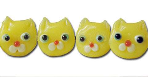 Yellow Lamp Work Cat Beads - Vintage 12mm