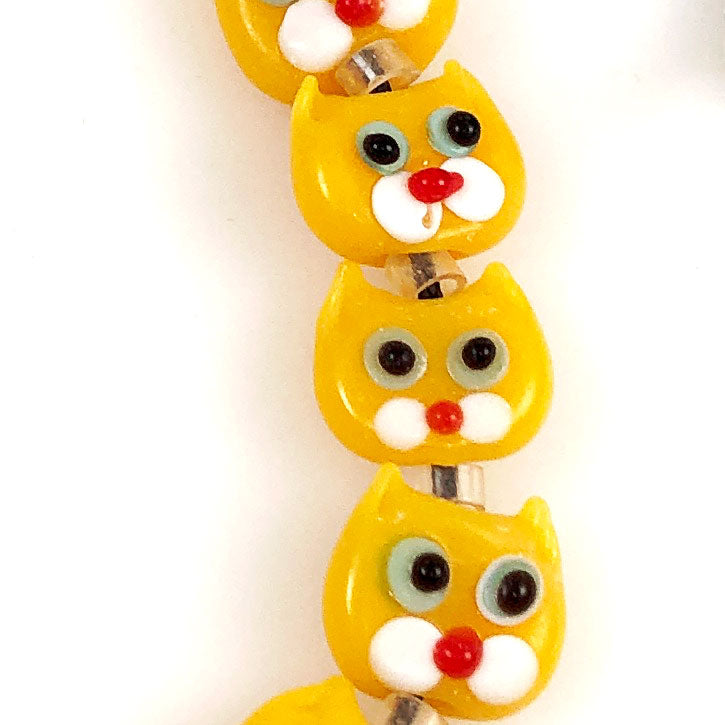 Yellow Cat Beads Lamp Work - Vintage 12mm