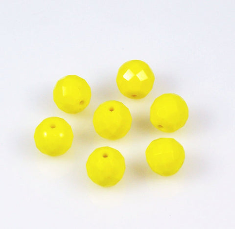 Yellow Faceted 12mm Glass Beads