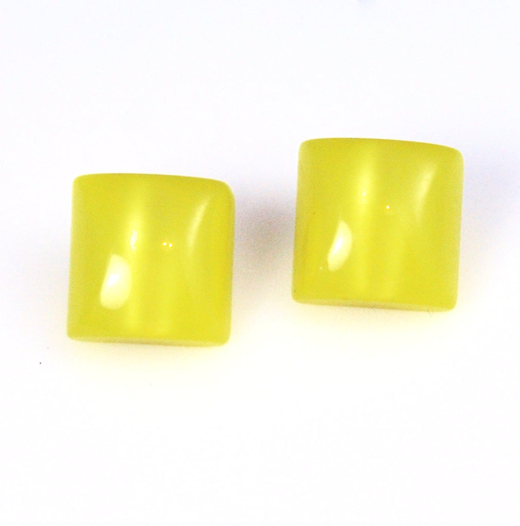 Yellow Lucite Moonglow Earrings