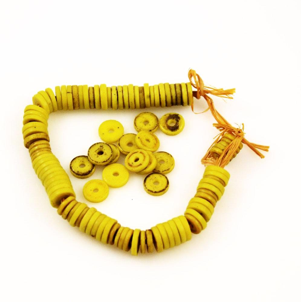 African Trade Sliced Yellow Prosser Beads