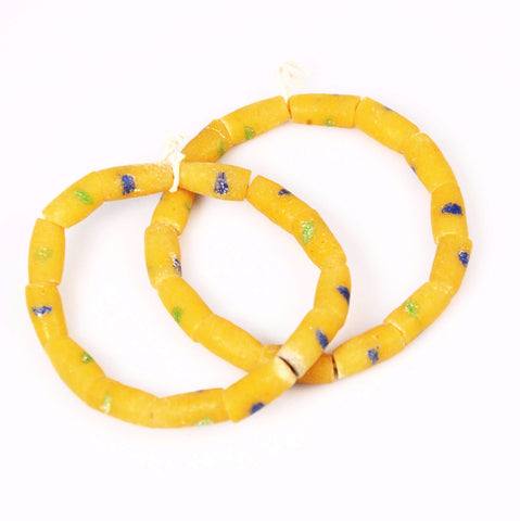African Yellow Sandcast Tube Beads