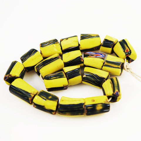 Antique Yellow Stripe African Trade Beads