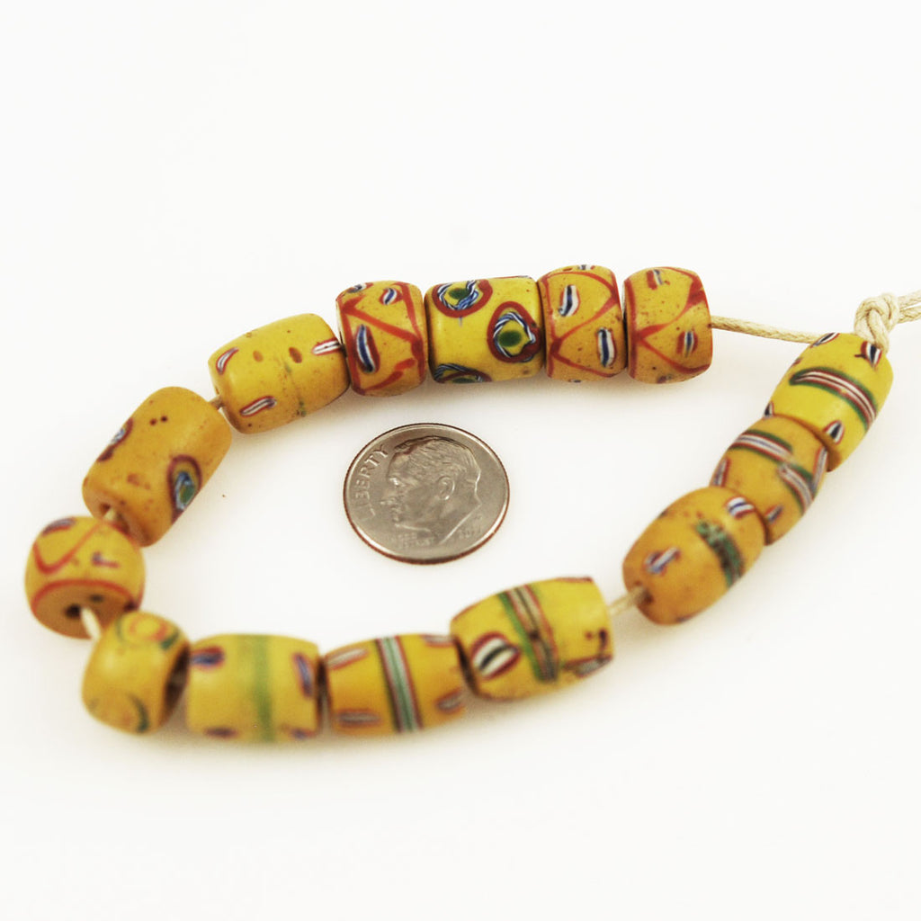 Antique Yellow African Trade Beads (12)