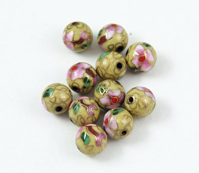 Cloisonne Yellow Round Beads Vintage Chinese