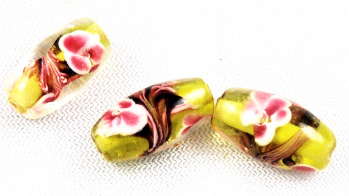 Yellow and Pink Floral Oval Glass Beads